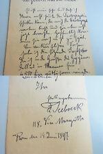 Bildhauer FERDINAND SEEBOECK (1864-1952): Eh. Brief ROM 1897 über Bilder, Preise