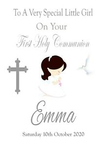 FIRST HOLY COMMUNION Card 2021 Little Girl Personalised Keepsake FREEPOST