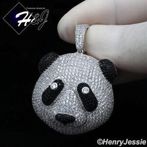 925 STERLING SILVER ICY DIAMOND BLING SILVER/BLACK 3D PANDA HEAD PENDANT*SP333