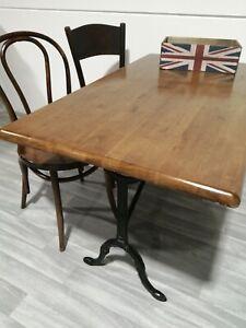 Cast Iron VINTAGE Pub Table with Dark Oak Top
