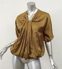 LANVIN Womens Olive Silk+Cotton Satin Draped Pleated Blouse Top Shirt 38/6