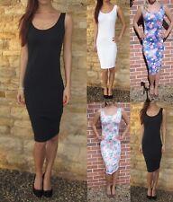 Womens Midi Long Tall Vest Dress Bodycon New Summer Size 8 10 12 14 16 18 20 22