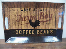 """Vintage-Style Tin Metal Serving Tray  """"Farm Boy Coffee Beans"""" Rooster"""