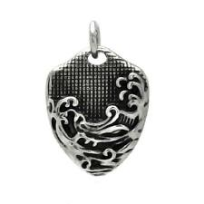 Stainless Steel Wave Design Dog Tag Pendant, Free Bead Ball Chain