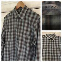 REISS Men's Size Medium Blue Checked Long Sleeve Shirt