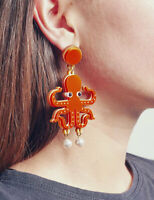 Women Acrylic Resin Lobster, octopus Earrings Boho Dangle Drop Stud Earring