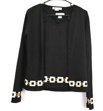 Peter Nygard Knit Wear Women Small 6-8 Sleeveless Tank Cardigan 2 PC Set Black