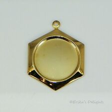 18mm Round Gold Plated Hexagonal Cabochon (Cab) Drop Settings 1pc