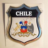 Sticker Chile Emblem Coat of Arms Shield 3D Resin Domed Gel Vinyl Decal Car Moto