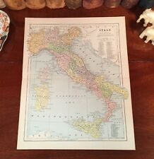 Original 1885 Antique Map Italy for Family Tree Name History Genealogy Ancestry