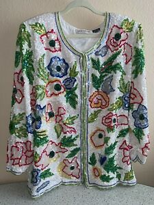 Vintage Silhouettes Pure Silk Floral Long Jacket with Beads & Sequins 2X