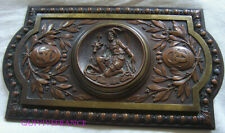 PLAQUE BAS RELIEF EN BRONZE de SAINT HUBERT