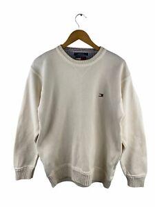 VINTAGE Tommy Hilfiger Heavy Knit Jumper Mens Size M White Pullover Crew Neck