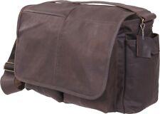 Brown Leather Classic Military Messenger Shoulder Bag