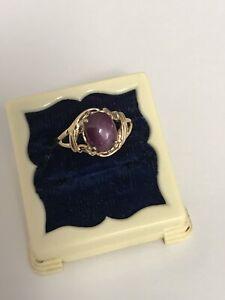 14k Yellow Gold Estate Purple Star Sapphire Ring Size 71/2