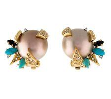 BIN Alexis Bittar Faux Pearl Encrusted Turquoise Spike Clip Earrings Jewelry