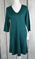 NY Collection Women Cable-Knit A-Line Sweater Dress 3/4 Sleeve Green Petite PL