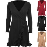 Womens Ladies Slinky Ruffle Frill Wrap Over V Plunge Long Sleeve Bodycon Dress