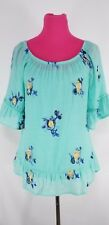 Fig and Flower Womens Peasant Embroidered Top & Tank Size M Ruffled Hem