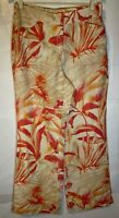 Chico's Linen Ivory, Pink & Orange Tropical Print Pants W/ Elastic Back Size 0.5