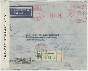 DUTCH EAST INDIES 1940 reg CENSOR cover *SOERABAJA-LONDON* via SINGAPORE, BASRAH