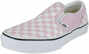 Vans Kids' Unisex Snow White Checkerboard Lilac Slip On Flat Shoes Size US 11