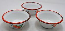 Vintage Iron Enamel Food Curry Bowls Lot of 3 Original Old Hand Crafted