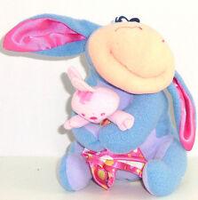 Disney Fisher Price Baby Eeyore Plush Toy Rattle Satin Blanket Ears 2004