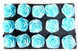 FLOWER LT BLUE Thumb Tacks - Set of 15 Handmade Decorative Push Pins