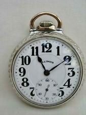 Rare Illinois Bunn Special White Gold Plated Rail Road Pocket Watch.