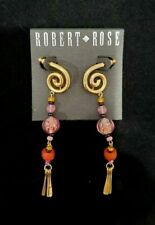 Pink Red Gold Pierced Earrings Robert Rose Runway Dangle Chandelier