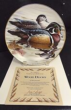 American Waterbirds Wood Ducks Plate Rod Lawrence #1 First Issue Hamilton Coll