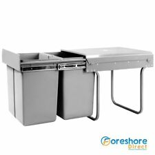 Kitchen Bin Under Bench Counter Sink Pull Out Sliding Dual Waste Basket 30L 40L