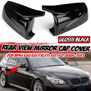 2x Gloss Black Rearview Mirror Cover Cap For BMW E60 E61 F10 F11 F01 F02 2008-13