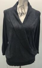 Ann Taylor Black Gray XL Sweater Cowl Open Long Sleeve Women Open