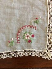 Vtg Hand Loom Embroidered Linen Handkerchief 10X10 Wedding Holidays Church Nwot