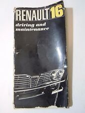 Renault 16 Owner's Manual Driving and Maintenance R1152