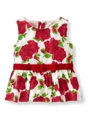 NWT Janie And Jack Peplum  Top Tartan Party Line Size 5 Roses, Velvet Bow