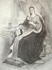 SIÈCLE DE LOUIS XIV / GRAVURE 1840 / Mme DE MAINTENON