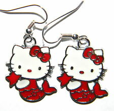 #2799 Sizzling Hot Red Mermaid Hello Kitty Metal Charm Dangle Earrings