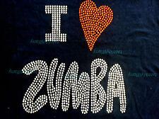 """HOTFIX RHINESTONES HEAT TRANSFER  I- RON """"I LOVE ZUMBA"""""""