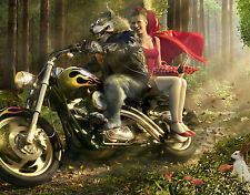 A4 Funny Poster - Little Red Riding Hood & The Big Bad Wolf on a Motorbike
