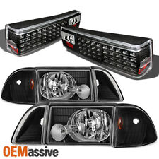 1987-1993 Ford Mustang Black Headlights w/ Corner & Signal + LED Tail Lights Set