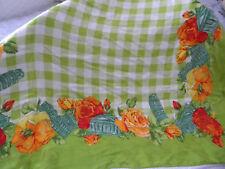 "Laura BIAGIOTTI Green and Orange FLORAL Scarf 100% Silk 34 x 33""/BEAUTIFUL"