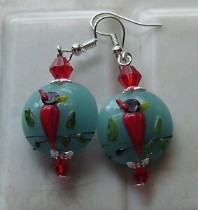 BLUE WITH RED BIRDS LAMPWORK GLASS EARRINGS
