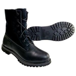 Timberland Women's 9.5 Waterproof Foldover Boots Teddy Fleece Black Suede 8661A