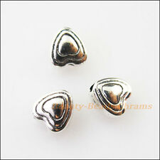 25Pcs Antiqued Silver Tone Tiny Smooth Heart Spacer Beads Charms 5.5mm