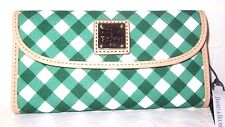 Dooney & Bourke Gingham Green & White Continental Clutch Wallet New NWT $ 118