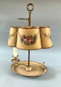 ANTIQUE TOLEWARE CANDLE LAMP WITH SHADE