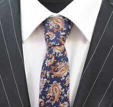 Tie Cravatta Slim Blu Con Arancione & Bianco Paisley cotone di alta qualità T6011